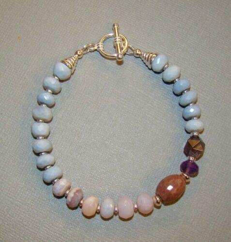Details about  /Owyhee Blue Opal Scorolite Amethyst Rhodonite U/&C Sundance .925 Silver Bracelet