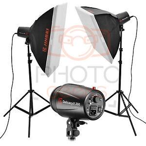 Flash Studio Lighting Kit 400w 2x200w Jinbei Softbox
