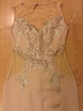 Bnwt🌹Lipsy Michelle Keegan🌹Size 10 Nude Scuba Fishtail Lace Maxi Dress Wedding
