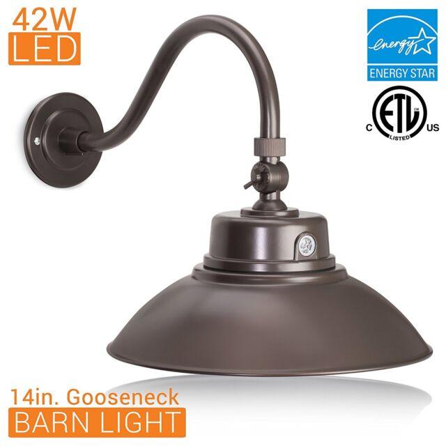 Gooseneck Barn Light Fixture Black Adjustable Lamp Shade Photocell