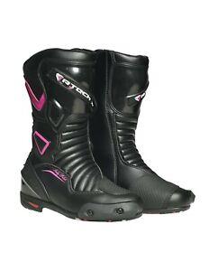 R-Tech-Dames-Pilot-leer-racen-motor-laarzen-voor-alle-seizoenen-zwart-roze