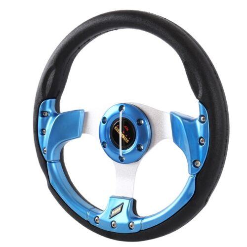 Universal Blue Deep Dish 320mm 6 Hole Leather Racing  Steering Wheel /& Horn  JDM