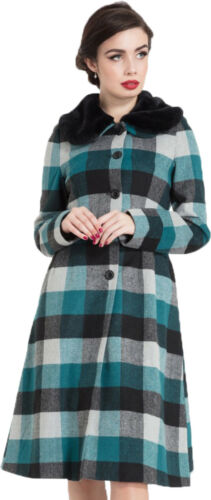Voodoo Vixen BEATRICE WOOLLY Vintage KARO Fake Fur COAT Mantel Rockabilly