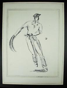Santiago-Irribarria-Giocatore-di-Gomitolo-Disegno-Firmato-1968-Paesi-Basco