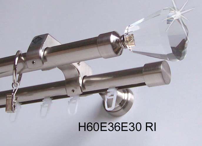 Rohr + Innenlauf Innenlauf Innenlauf Gardinenstange Edelstahl Look 20mm a. Zusatzlauf Kristall E36 | Hohe Qualität und günstig  b77b84