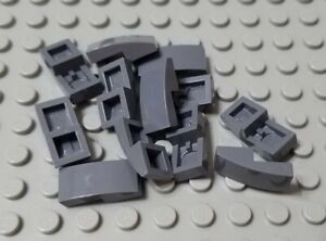 LEGO Lot of 12 Light Gray 2x1 Slope Pieces