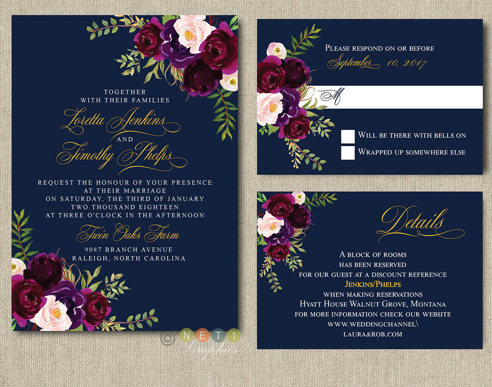 Personalized Navy Burgundy, Blaush Floral Wedding Invitations with Envelopes