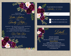personalized navy burgundy blush floral wedding invitations with