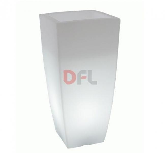 VASI VASO QUADRO STILO LAMP CON LUCE INTERNA CM 33xX33XH70 LT.15 GHIAC LUCE BI