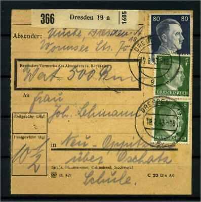 114510 Briefmarken Diverse Philatelie Qualifiziert Paketkarte 1943 Dresden Siehe Beschreibung