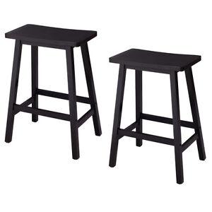 "Set of 2 Saddle Seat 24"" Bar Stools Wood Bistro Dining Kitchen Pub Chair Black"