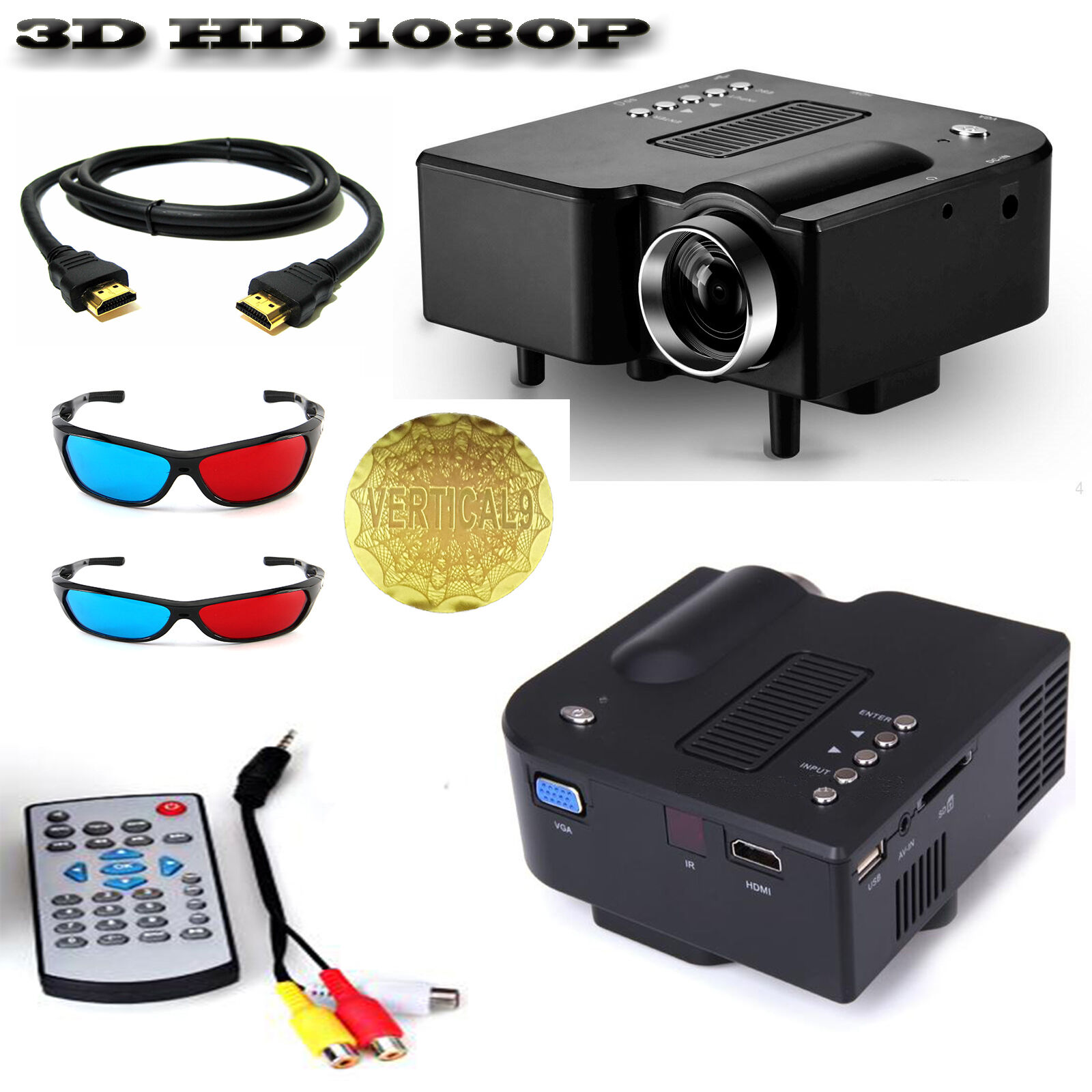 Fuleadture Portable Led Projector 1080p Hd Multimedia: Mini Portable LED 3D Projector 1080P Multimedia Home