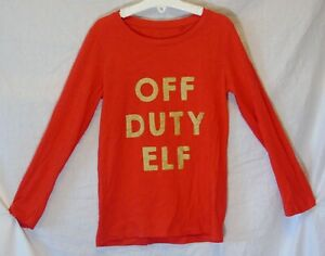 Girls-Next-Red-Sparkly-Gold-Off-Duty-Elf-Funny-Xmas-Long-Sleeve-Top-Age-7-Years