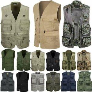 Men-Pockets-Travel-Fishing-Vest-Photograph-Waistcoat-Safari-Cargo-Outdoor-Coat-M