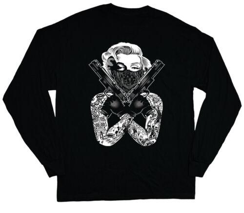 long sleeve t-shirt for men Marilyn Monroe gangster pose guns tattoo tee shirt