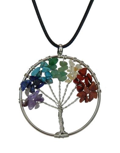 Ella Jonte Kette silber bunt Baum des Lebens Leder Schmucksteine lange Halskette