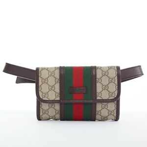 fdb82e58289 GUCCI brown GG monogram red green web flap front fanny pack belted ...