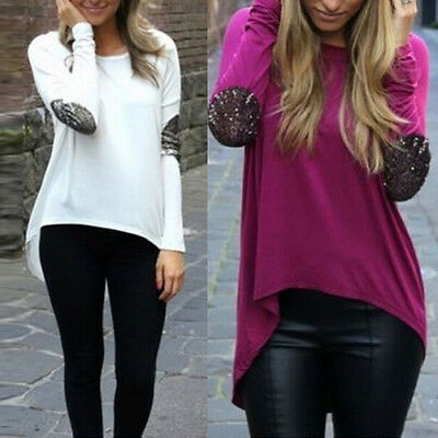 HOT Women Loose Casual Long Sleeve Sexy Shirt Tops Blouse Ladies Tee Top S-XL