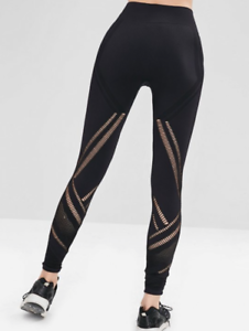 Black Seamless Sports Perforated Gym Leggings Exercise Fitness