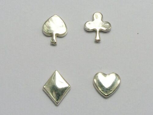 200 Silver Tone Metallic Acrylic Flatback Poker HEARTS,CLUBS,DIAMONDS,SPADE