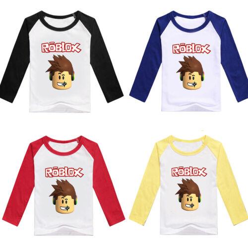 ROBLOX Boys Girls Kids T-shirt Cartoon Long Sleeve Casual Spring Fall Costumes