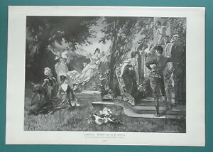 SUMMER-JOY-Youth-Idyl-Girls-Boys-Swing-Cupid-Dog-1892-Victorian-Era-Print