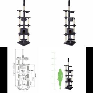 dibea-Cat-Tree-Activity-Centre-Ceiling-High-Sisal-Climbing-Toy-240-to-260-cm-G