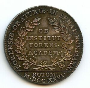 Luis XV Normandia Academia De Rouen Ficha Plata 1726 Feuardent 6119