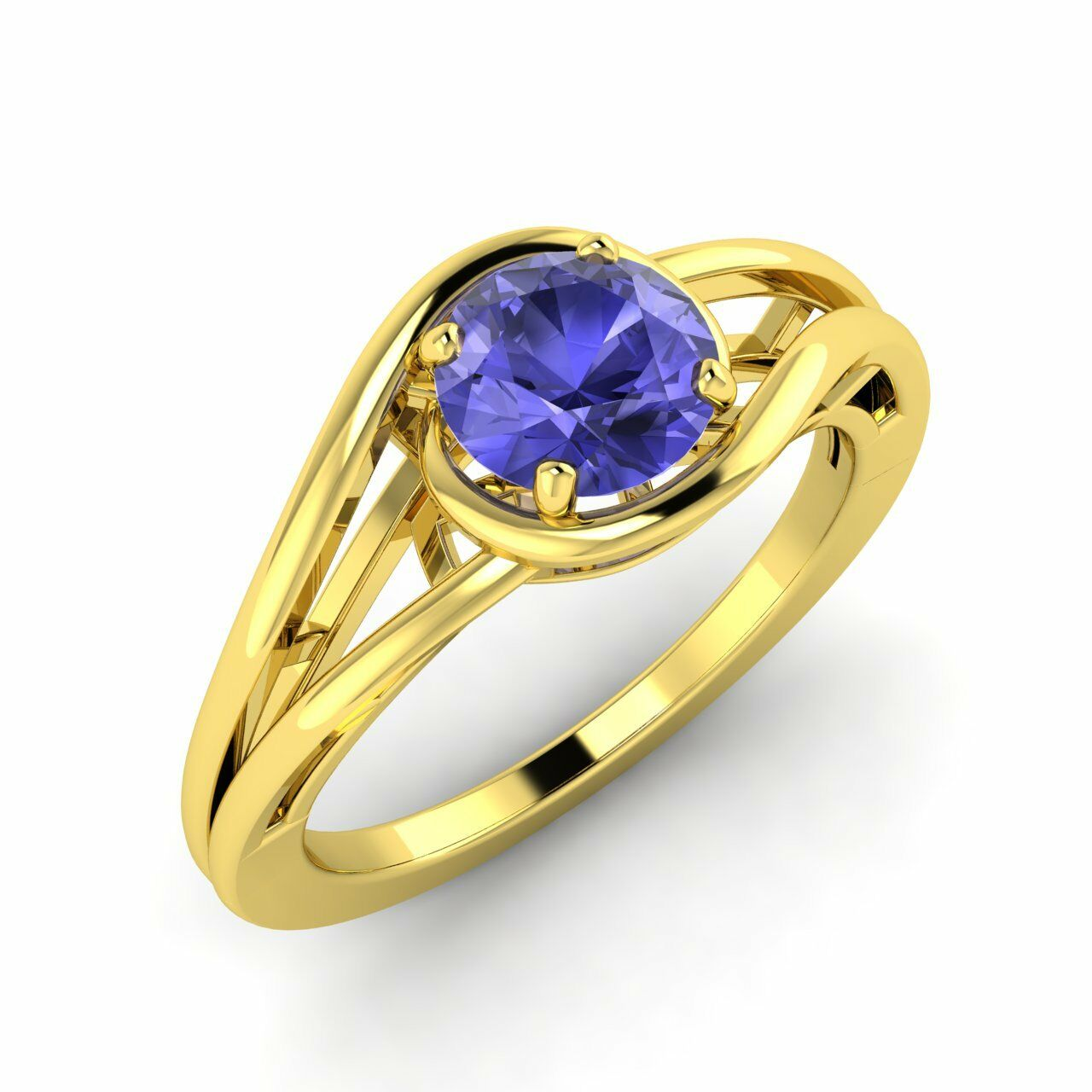 0.70Ct Natural AAA Tanzanite Solitaire Engagement Ring 10k  14k  18k Yellow gold