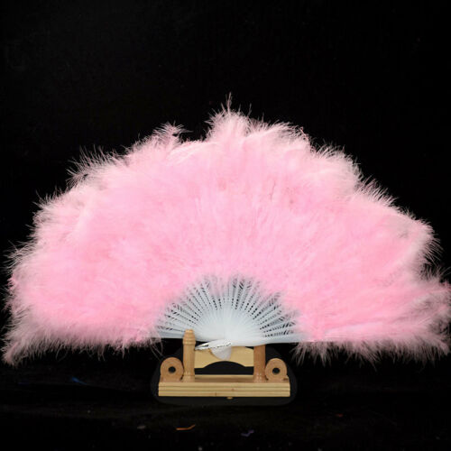 Showgirl Dance Party Show Elegant Large Feather Folding Hand Fan Costume Stage A