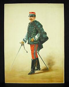 A-Legras-Captain-of-Hussars-Chromolith-c1880-Uniform-Military-Militaria-Xixth