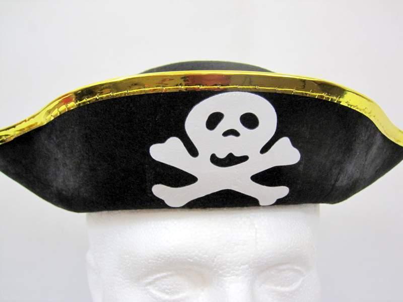 Appris Chapeau De Pirate Noir Et Or Crâne Et Os Croisés Or Avec Bordure Adulte Taille Unique Une Large SéLection De Couleurs Et De Dessins