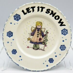 Buckeye-Stoneware-Angel-Plate-Mindy-Cain-Let-It-Snow-Country-Christmas-Tree-USA