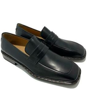 NEW, LOUIS VUITTON MEN'S BLACK LEATHER SLIP ON DRESS LOAFERS, 9, $1150