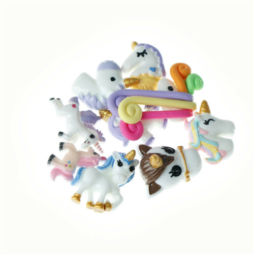 10X Mixed unicorns flatback resin cabochon for Diy phone deco scrapbook decor DD