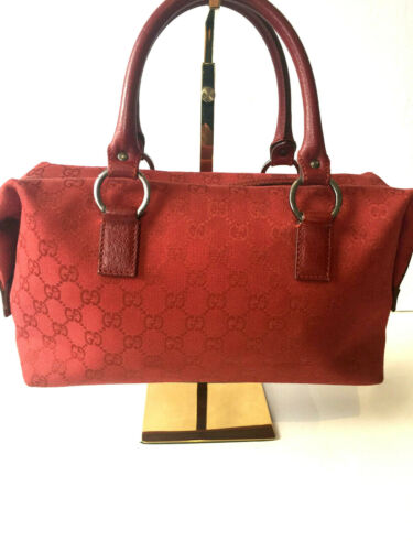 Gucci MEDIUM RED Monogram Boston Bag