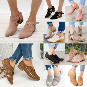 Women-Hollow-Out-Low-Block-Heel-Ankle-Boots-Casual-Cut-Out-Comfy-Flat-Shoes-Szie