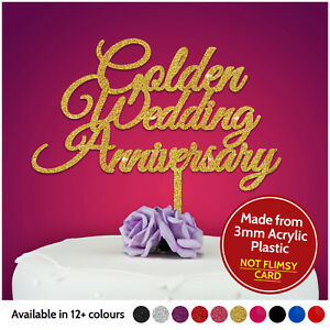 GOLDEN-Wedding-Anniversary-Cake-Toppers-PERSONALISED-ANY-ANNIVERSARY-50th-Fifty