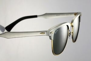 ray ban clubmaster sunglasses aluminium  image is loading ray ban aluminium clubmaster brushed silver gold sunglasses