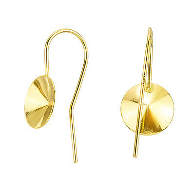 2 Sterling Silver 20mm Ear Wires With Bail  24K Gold Plated 18K Rose Gold Plated