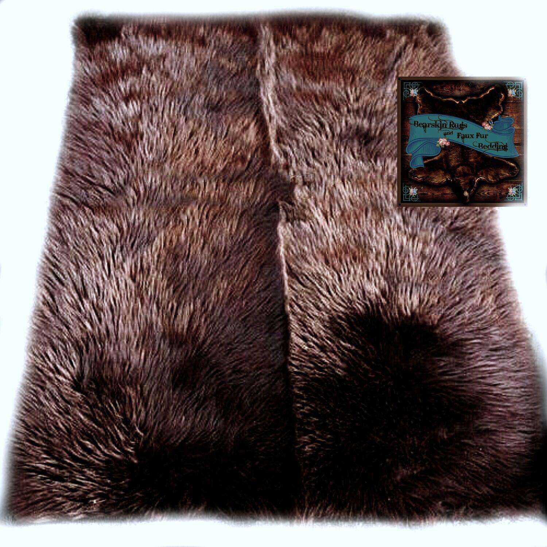 Faux Fur Area Rug Rectangular Shape Grizzly Bear Marronee Shag Carpet Throw Sheep