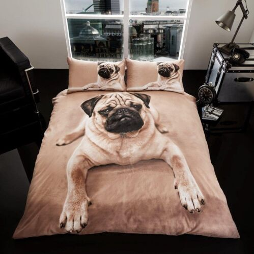 3D Reversible Pug Dog Duvet Cover Set Single Double King