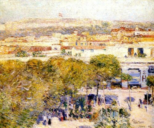 PLACE CENTRALE AND FORT CABANAS HAVANA 1895 CUBA PAINTING BY CHILDE HASSAM REPRO