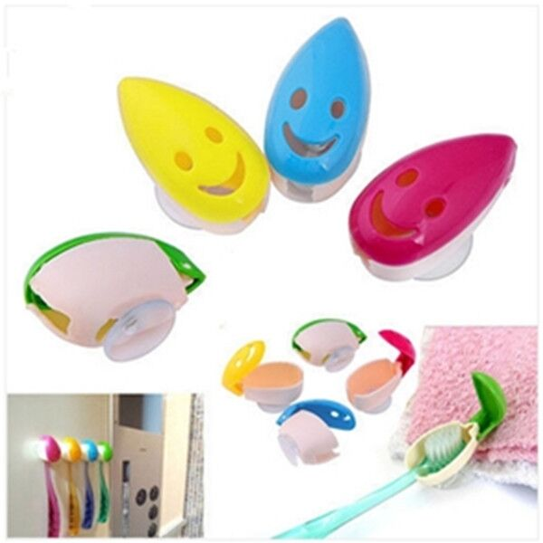 4p New Smile Face Toothbrush Suction Cup Cover Holder Antibacterial Fit Wall-SUN