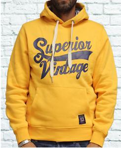 felpa superior vintage cappuccio invernale blu scuro o gialla sv7109//32