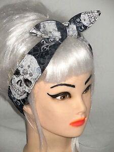 SKULLS Black White Hair-wrap Tie Head Scarf Wrap Headband Rockabilly ... fc20d39a6b4