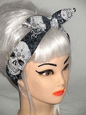 SKULLS CROSSBONES Hair-wrap Tie Head Scarf Wrap Headband Rockabilly Pinup Skull