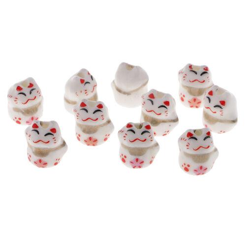 10 pcs Keramik Glück Katze Perlen Lose Emaille Perlen spacer Perlen Beads
