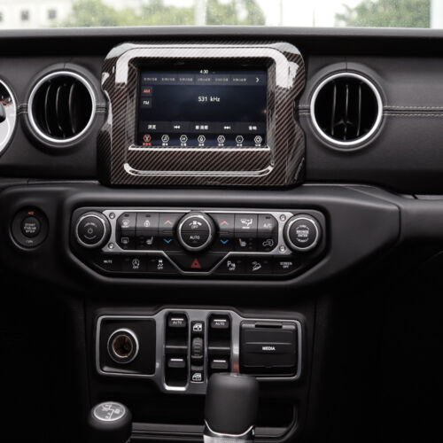 Carbon Fiber 7 inches GPS Navigation Panel Cover Trim For 2018 Jeep Wrangler JL
