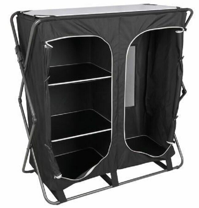Royal Easy Up Wardrobe 3 shelf Integrated Clothes Hanging Rail Storage Camping